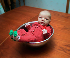 20011225_Jack_in_bowl_002 (Scott Rosenfeld) Tags: christmas red portrait baby holiday cute colors digital jack photo infant funny image photograph age 1month adjective redsuit inbowl bestportraitsforwebsite 2001rhyscollage rhysgraduationbook bestkidsforwebsite