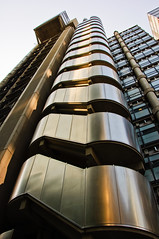 Lloyd's Building (Tomas Burian) Tags: city uk sunset england building london architecture modern stairs silver buildings golden evening nikon britain steel centre capital bank gb lloyds bishopsgate modernbuilding lloydsbuilding 2011 d90 unitedkindom modernbuildings