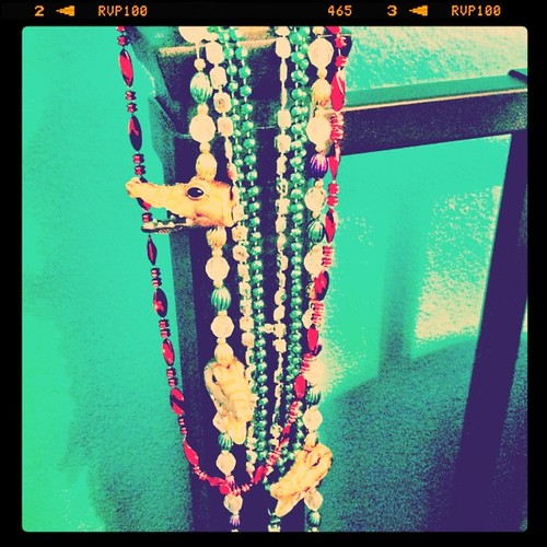 Project 365 117/365: All of my beads from New Orleans & #Mom2Summit are on my bed post. Love the gator ones.