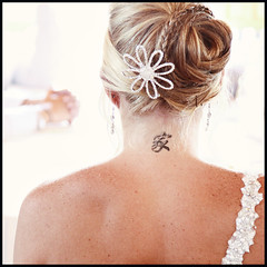 Kaci (Ally Mauro) Tags: wedding portrait people sun sunlight love girl canon bride daylight spring couple dof bokeh availablelight candid tattoos blonde freckles bridal canondslr shortdepthoffield weddingphotographer weddingphotography bsquare canondigital canon50d