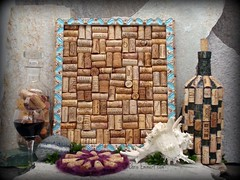 "Mosaic Cork Board and Cork Covered ""Wine Bottle Light"" (Chris Emmert) Tags: chris light beads bottle wine mosaic mixedmedia cork board frame winebottles motherofpearl trivet glasstile emmert upcycle flickrmosaicartists chrisemmertcom"