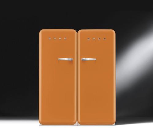 orange design fridge colours style 50s freezer arancio kühlschrank refrigerators smeg anni50 50er frigoriferi fab28 congelatori frigoriferocolorato colouredfridge retrofridges kühlschranksmeg smeg50er kühlschrank50er