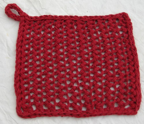 Alabama relief dishcloth Red second time cotton Knit one crochet too purchased at WC Mercantile