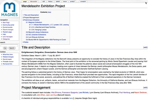 Wiki::Mendelssohn Exhibition Project
