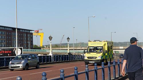 Belfast - Ambulance Crossing Queens Bridge