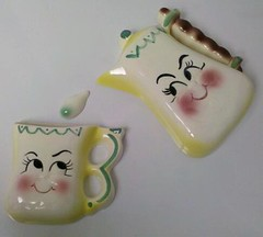 DeForest of California Anthropomorphic Coffee Pot and Mug Wall Plaque, Pocket and Drop! (Cathygio) Tags: old cute face smiling yellow set plaque vintage happy head antique cartoon kitsch housewares retro 1950s mug pottery teapot rare whimsical anthropomorphic coffeepot plaques kitchenware californiapottery holthoward deforest wallpocket