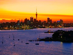 Auckland and Devonport 18 Jan 2007 (Mark in New Zealand) Tags: sea newzealand clouds auckland skytower