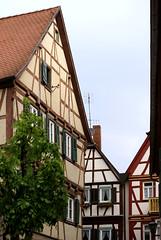 Tauberbischofsheim (autumnal fires) Tags: house building germany geotagged deutschland town ancient eu medieval halftimbered fachwerk tauberbischofsheim