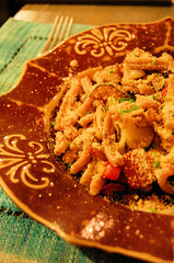 spelt pasta with roastes vegetables and breadcrumbs