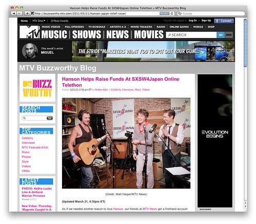 Hanson Helps Raise Funds At SXSW4Japan Online Telethon » MTV Buzzworthy Blog