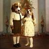 The conspirators - les conspirateurs (Martine Roch) Tags: portrait dog kids vintage children funny antique character surreal humour surrealist caractère martineroch flypapertextures