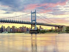 East River Sunset (Tony Shi.) Tags: bridge sunset color river island long day cloudy east sound hdr rfk triboro