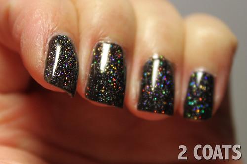 China Glaze Fairy Dust (2 coats) over OPI Black Onyx