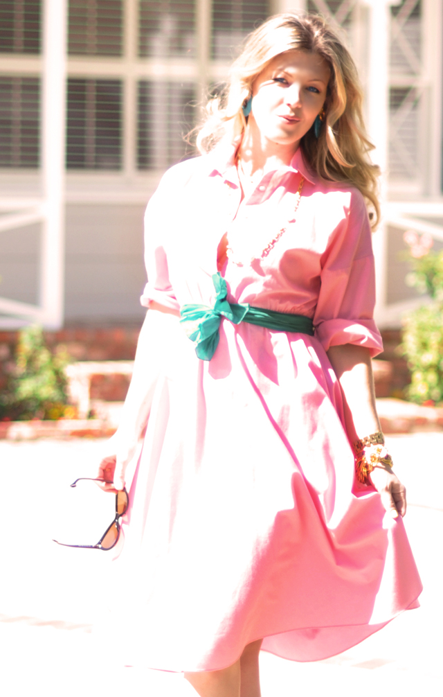 watermelon pink dress with green sash