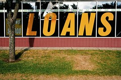 loans (xgray) Tags: street leica color tree film window sign analog kodak 100 shoppingcenter stripmall m7 ektar loans airportblvd