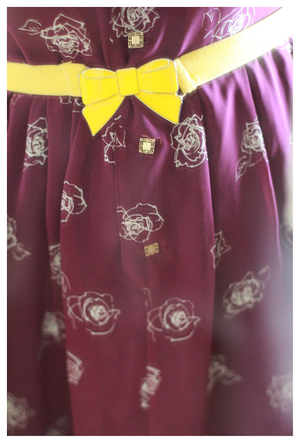 Purple Vintage Dress & Yellow Belt