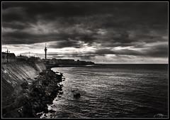 Y se hizo la luz (J.R.Rey (OFF)) Tags: city sea bw seascape storm skyline clouds marina mar nikon ciudad nubes tormenta horizonte d90 cdgexplorer