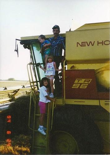Dad & kids on combine '94