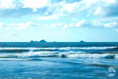 Blue (neco.w) Tags: ocean blue sea sky cloud white motion blur beach water clouds island islands long exposure waves slow cloudy crash wave shutter crashing