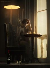The deed is done (Mark Frost :)) Tags: smoke cigarette light window soft diffuse wine glass bottle remorse emotion lady girl woman female cg cgi render iray 3d portrait gun weapon daz studio