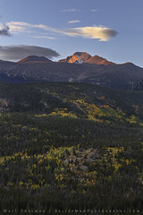 Autumn Morning at Longs Peak (Matt Thalman - Valley Man Photography) Tags: 14er autumn colorado nationalpark rmnp rockymountainnationalpark alpenglow autumncolor autumnfoliage clouds fallcolor fallfoliage forest longspeak morning mountain trees