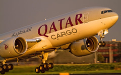 Qatar Airways Cargo Boeing 777F A7-BFJ - sunset (Aviation and Travel photography) Tags: sunset boeing qatar cargo sunlight schiphol amsterdam airport aviation aircraft jet jetliner outdoor flickr luchtvaart middle east airplanes air airliners photo photography spotters airplane jumbo airliner sun canon world worldwide