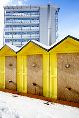 mixed perspective (batintherain) Tags: winter snow building beach yellow hotel closed huts