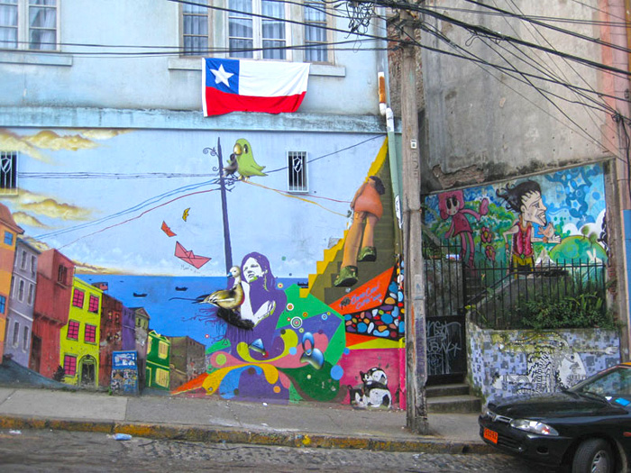 Photo favorite colorful wall mural in valparaiso chile for Carpenter papel mural santiago chile