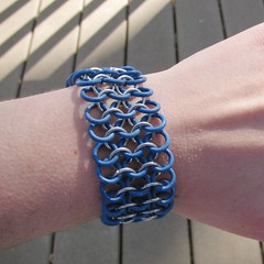 Denim blue and silver rubber chainmaille bracelet