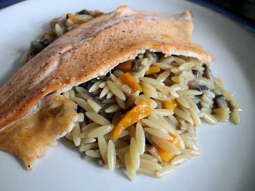 Grilled Trout with Mushroom & Roasted Pepper Orzo Pilaf