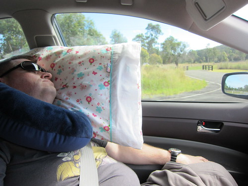 Kevin having a nap in the car