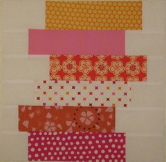 Stacked strip block 2 for Kristy (peonybliss) Tags: pink orange quiltbeeblock