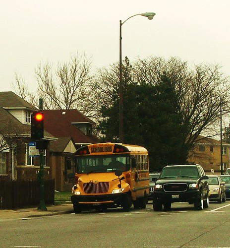 Small International school bus. Chicago Illinois USA. Early April 2011. by Eddie from Chicago