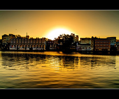 The Lake and the Sunset Glow (PNike (Prashanth Naik..back after ages)) Tags: sunset sun india reflection water yellow river nikon glow rajasthan udaipur udaipore pnike