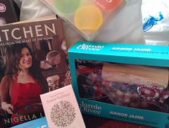 nigella book, jamie oliver cookie set, cupcake moulds and perfume