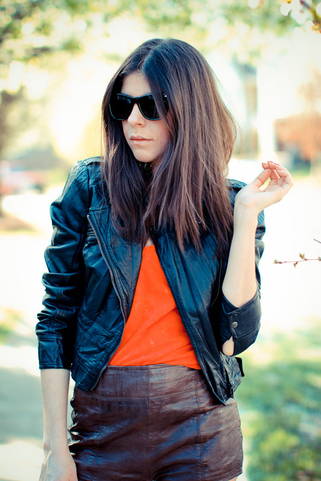 Abercrombie and Fitch Leather shorts, Bebe Leather Jacket, American Apparel Burn Out T-Shirt, Balenciaga shoes