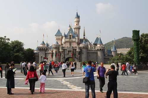 Sleeping Beauty Castle - can you spot the blonde in a sea of black hair?
