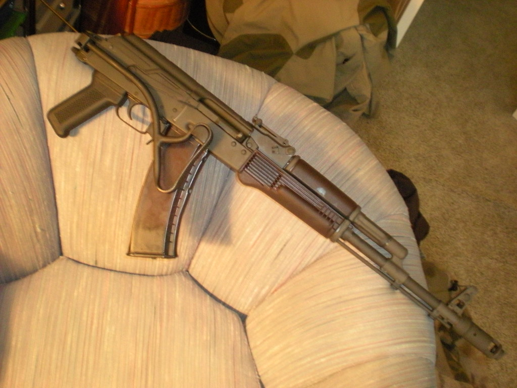 This Rifle Has Become Kind Of An International Slut Of An AK 74...Romanian  Side Folding Stock, Russian Plum Furniture And Magazines, Bulgarian  Trunnion ...