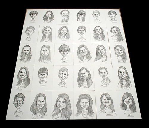 Caricatures in pencil for graduating class - 2