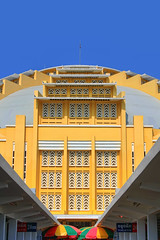 Art Deco Masterpiece | Central Market (Psah Thmay or New Market) | Phnom Penh | Cambodia (I Prahin | www.southeastasia-images.com) Tags: world travel sky heritage history tourism yellow architecture asian rouge asia cambodia cambodian khmer exterior market stall landmark historic dome restored restoration phnompenh artdeco rotunda hdr mekong igloo yolk canonefs1022mm tonemapped gettyimagessoutheastasiaq2