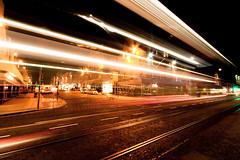 Light Streams (think4d) Tags: road bus reflections lights scotland edinburgh crossing traffic wetstreet lighttrace princesstrett
