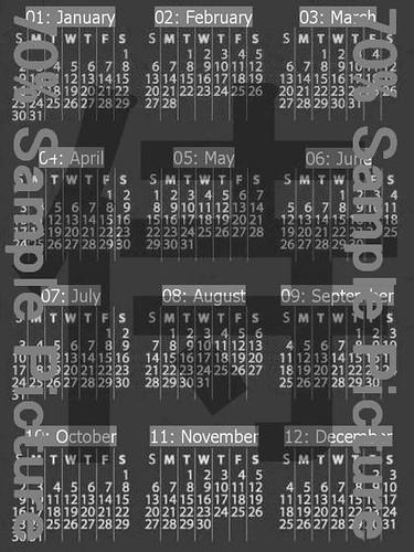 """Kindle: SCREENSAVER 013"" 2011 Calender KANJI SAMURAI Picture Image (JPG) for Kindle Display Screen Saver. - 2 size (Available on Kindle & Kindle DX) (SS 013) - TKP 0102 -"
