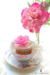 Just Beautiful! (Little Cottage Cupcakes) Tags: birthday pink wedding flower vintage cupcakes anniversary peony teacup cuckoo wedgwood fondant shabbychic sugarpaste littlecottagecupcakes
