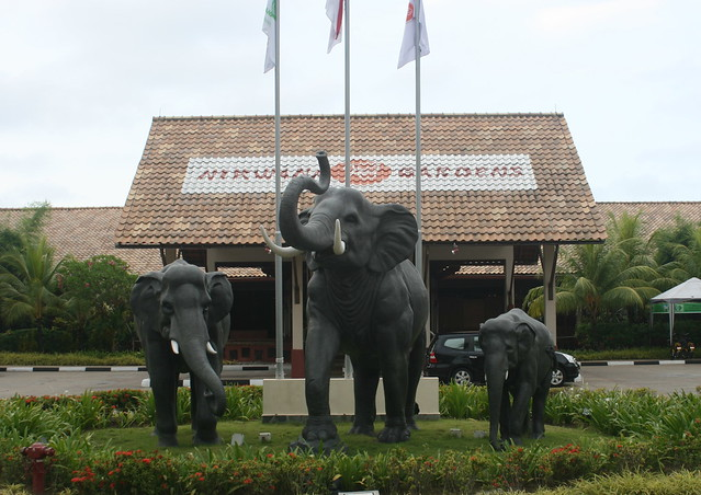 The signature elephant statues at Nirwana Gardens