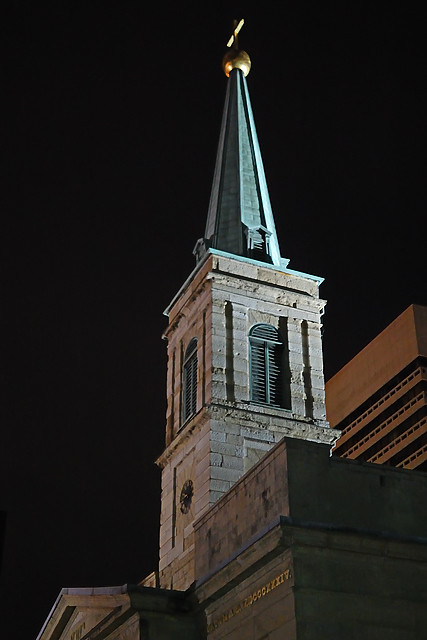 Basilica of Saint Louis, King of France (Old Cathedral) in downtown Saint Louis, Missouri, USA - tower at night