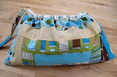 Log Cabin Drawstring Bag