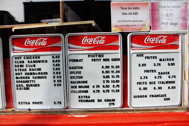 Coca Cola Menu