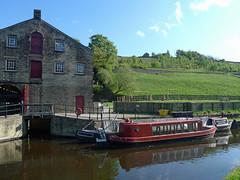 Old building and narrowboats (jrw080578) Tags: trees buildings boats canal yorkshire narrowboats huddersfieldnarrowcanal