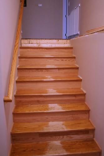 Progress on stairs.