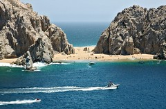 Lovers Beach (Serge Freeman) Tags: ocean sea vacation seascape beach mexico boats rocks horizon aerial cliffs cabosanlucas